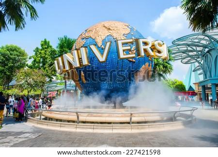 SINGAPORE - OCT, 28 UNIVERSAL STUDIOS SINGAPORE sign on October 28,2014. Universal Studios Singapore is a theme park located within Resorts World Sentosa on Sentosa Island, Singapore - stock photo