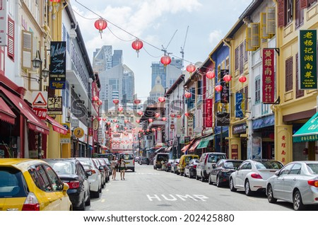 SINGAPORE - OCTOBER 27: Chinatown is an ethnic neighbourhood featuring Chinese cultural elements and a historically concentrated ethnic Chinese population. - stock photo