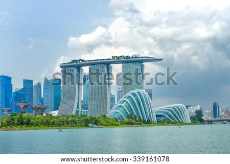 SINGAPORE- OCTOBER 31, 2015: Dayview of Marina Bay Sands Resort Hotel in Singapore. It is an integrated resort and the worlds most expensive standalone casino property at S$8 billion. - stock photo