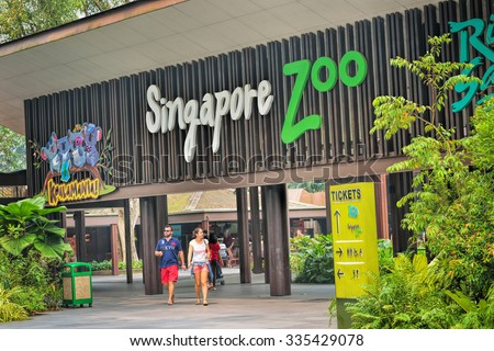SINGAPORE - OCTOBER 23, 2015: Entrance to Singapore Zoo. There are about 315 species of animal in the zoo. The Singapore zoo attracts about 1.6 million visitors each year.  - stock photo