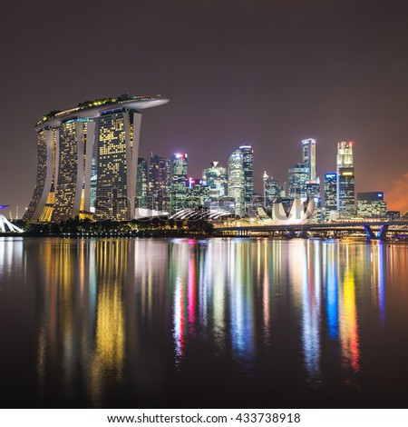 SINGAPORE - OCTOBER 16, 2014: Marina Bay Sands, ArtScience Museum and Flower Dome at sunset. - stock photo