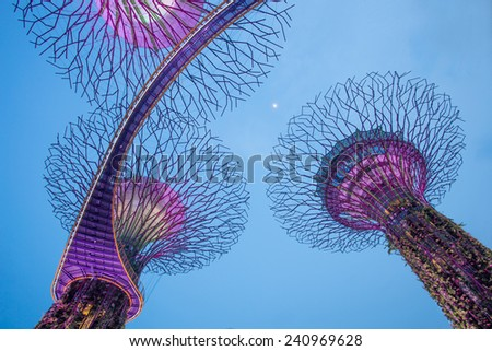 SINGAPORE- October 31: Night view of The Supertree Grove at Gardens by the Bay on 31 October, 2014 Singapore. Spanning 101 hectares, and five-minute walk from Bayfront MRT Station - stock photo