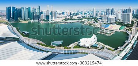 SINGAPORE - OCTOBER 18, 2014: Singapore aerial view from Marina Bay Sands Skypark. - stock photo