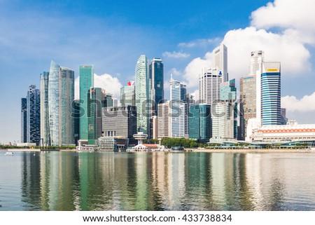 SINGAPORE - OCTOBER 17, 2014: Singapore city skyline. - stock photo