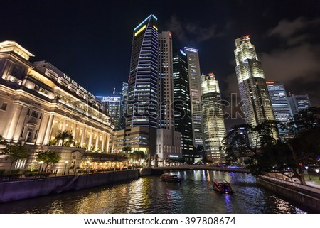 SINGAPORE - OCTOBER 17, 2014: Singapore city skyline at night.