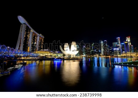 SINGAPORE - October 13th , 2013: Marina Bay Sands is an integrated resort fronting Marina Bay in Singapore. - stock photo