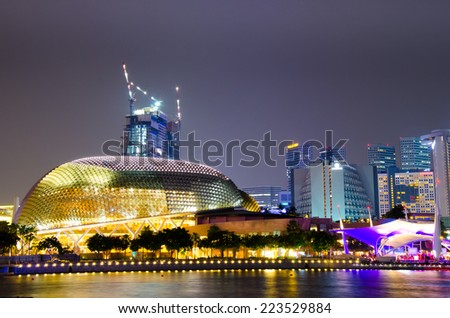 SINGAPORE - OCTOBER - 10: The Esplanade Convention Centre at Marina Bay october 10, 2014 in Singapore.