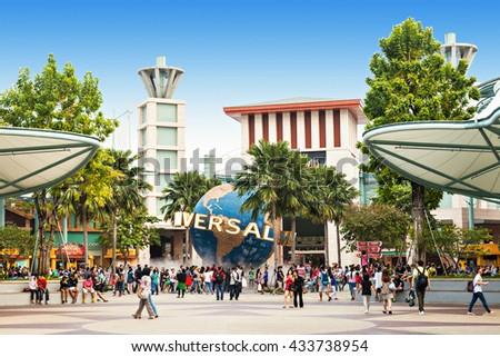 SINGAPORE - OCTOBER 17, 2014: Universal Studios Singapore is a theme park located within Resorts World Sentosa on Sentosa Island, Singapore. - stock photo