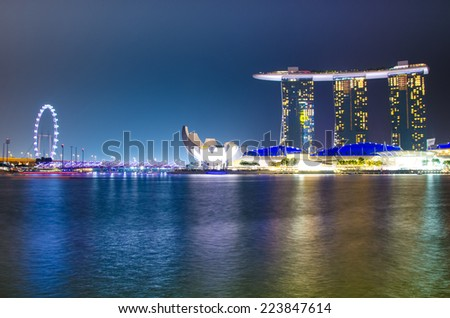 SINGAPORE - OCTOBER 10 : Wonder Full show at the Marina Bay waterfront Oct 10,2014 in Singapore.Landscape of Singapore city - stock photo
