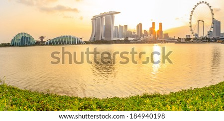 Singapore Panorama Sunset City - stock photo
