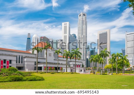 Singapore Parliament in downtown with blue sky