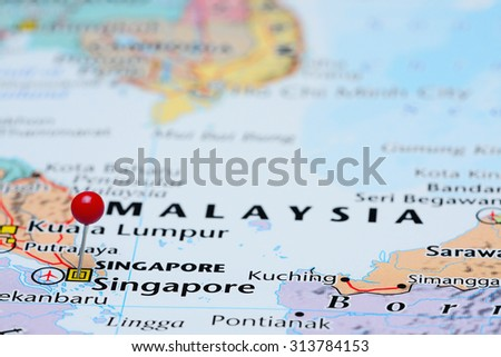 Singapore Pinned On Map Asia Stock Photo (Royalty Free) 313784153 ...