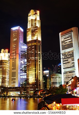 Singapore quayside in the evening