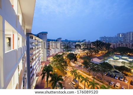 Singapore Queenstown Older Housing Estate at Early Morning Dawn Blue Hour - stock photo