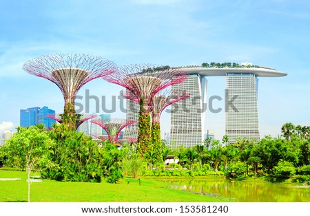 Singapore, Republic of Singapore - May 09, 2013: Panoramic view of Gardens by the Bay in Singapore. Gardens by the Bay was crowned World Building of the Year at the World Architecture Festival 2012  - stock photo