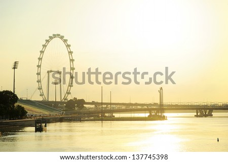 Singapore river and Flyer in the sunshine morning - stock photo