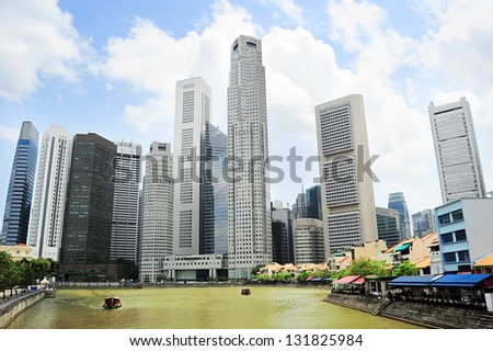 Singapore riverbank in the sunshine day - stock photo