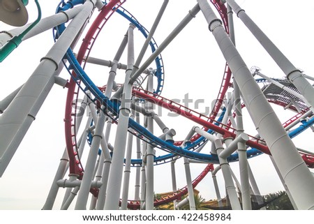 SINGAPORE - 2016: roller coaster universal travel landmark in singapore