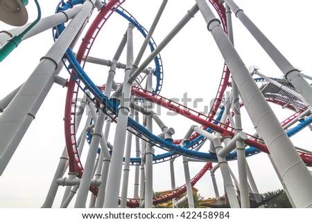 SINGAPORE - 2016: roller coaster universal travel landmark in singapore - stock photo