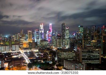 Singapore's Chinatown at night.  - stock photo