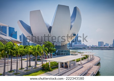 SINGAPORE - SEP 1: ArtScience Museum on September 1, 2014 in Singapore. It is one of the attractions at Marina Bay Sands. It has 21 gallery spaces with a total area of 6,000 square meters.  - stock photo