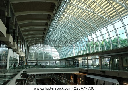 SINGAPORE - SEP 8 : Interior of shopping center at Marina Bay Sands Resort on September 8, 2014 in Singapore. It is billed as the world's most expensive standalone casino property at S$8 billion.