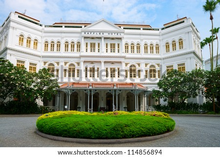 SINGAPORE - SEPT 8: The Raffles Hotel on September 8, 2012 in Singapore. Opened in 1899, it was named after Singapore's founder Sir Stamford Raffles. - stock photo