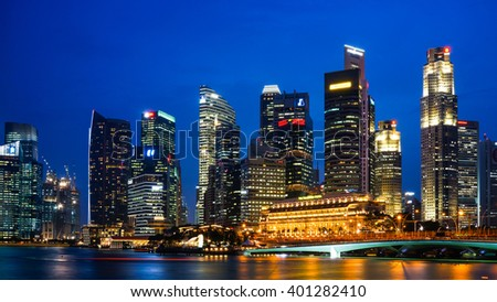 Singapore - 21 September 2015: Beautiful Singapore city skyline at night.