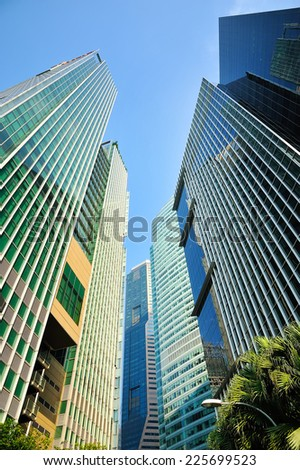 SINGAPORE - 8 September, 2014: Buildings in Singapore city with blue sky.