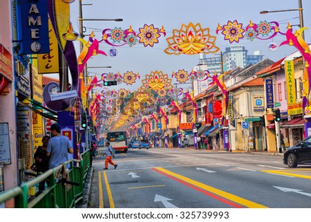 SINGAPORE - SEPTEMBER 23, 2015: Day view of Deepavali decorations in Little India, Singapore. Deepavali, popularly known as the festival of lights.