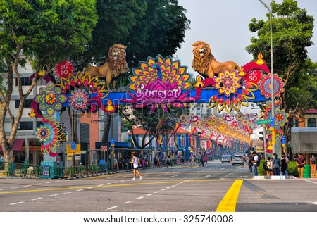 SINGAPORE   SEPTEMBER 23, 2015: Day View Of Deepavali Decorations In Little  India,