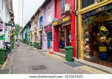 Singapore - September 15,2015 : Haji Lane is a shopping street in the heart of Singapores Kampong Glam Arab Quarter,it famous for shops,cafes and restaurants. - stock photo
