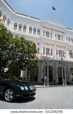 SINGAPORE - SEPTEMBER 26 - Raffles Hotel in Singapore on September 26th 2010. - stock photo