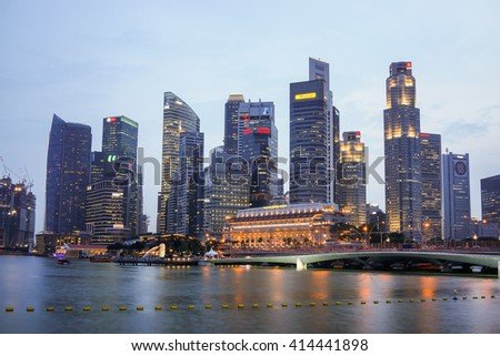 Singapore - 21 September 2015: Singapore city skyline during sunset.