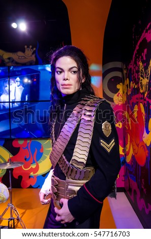 Singapore - September 15,2015 : The wax figure of Michael Jackson in Madame Tussauds Singapore.