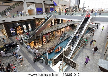 SINGAPORE - SEPTEMBER17, 2016: View of Marina Bay Sand Shopping Mall on September 17, 2016 in Singapore.