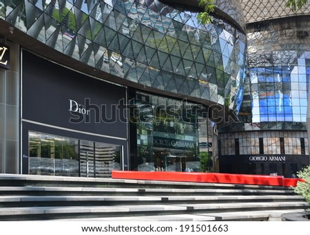 SINGAPORE,SINGAPORE, APRIL 25, 2014: Boutiques on the Orchard Road in Singapore