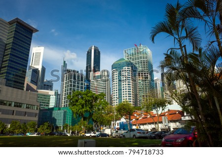 Singapore, Singapore - April 21, 2017: View of Singapore high rise buildings from the carpark on Club Street.