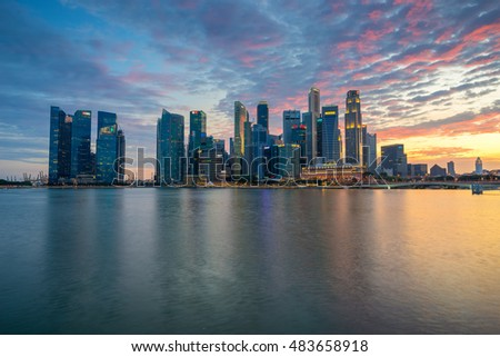 Singapore,Singapore  August 14 2016 : Aerial view of Singapore city skyline in sunrise or sunset at Marina Bay, Singapore