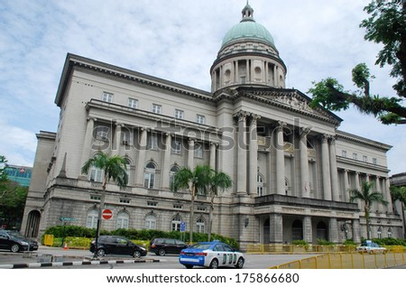 SINGAPORE, SINGAPORE - DEC 28, 2010:  Supreme Court in Singapore. The building was the last structure in the style of classical victorian architecture to be built in the former British colony.  - stock photo