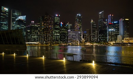 Singapore, Singapore - January 7, 2015: Aerial view of the city skyline in the Central Business District in Singapore.