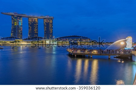 Singapore, Singapore - January 1, 2016 : Beautiful night view of Marina Bay at Singapore. It's the most famous view in this city country.