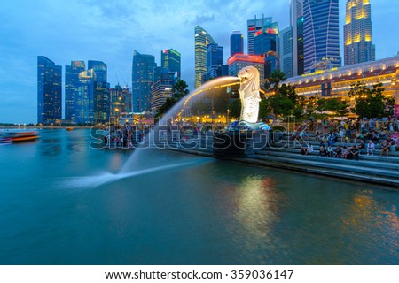 Singapore, Singapore - January 1, 2016 : Beautiful night view of Merlion, Singapores mythical symbol and most sought-after photo-op.