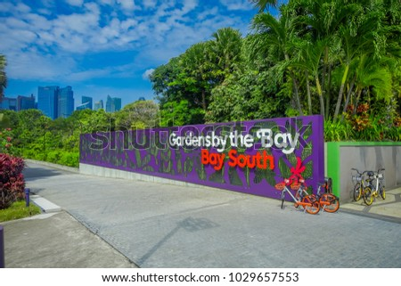 SINGAPORE, SINGAPORE   JANUARY 30, 2018: Day View Of Entrance To Gardens By