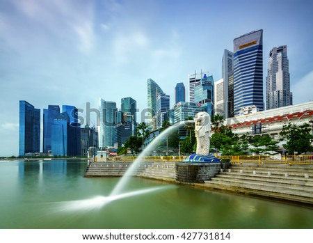 SINGAPORE,SINGAPORE - 1 JANUARY, 2016:The Merlion is a traditional creature with a lion head and a body of a fish, seen as a symbol of Singapore. - stock photo