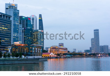 SINGAPORE, SINGAPORE - JANUARY 21: View of downtown Singapore city on Jan 21, 2015 in Singapore. Singapore is one of the world's major commercial hubs.