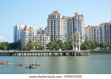 Singapore, Singapore - July 03, 2016: Tanjong Rhu is an affluent residential neighbourhood in Kallang in the central part of Singapore.