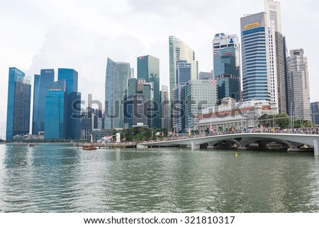 SINGAPORE, SINGAPORE - JULY 17 2015: View of downtown Singapore city. Singapore is one of the world's major commercial hubs.