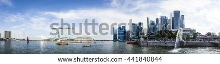 Singapore, Singapore - 5 June 2016: Skyline of Singapore with the iconic Marina Bay Sands