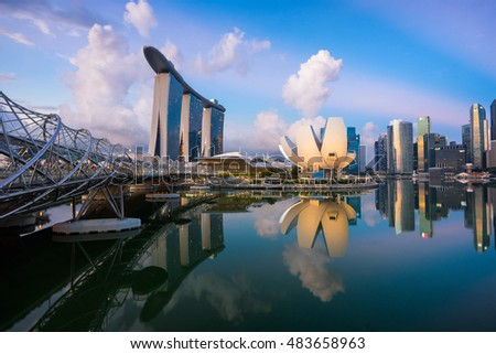 Singapore,Singapore  May 7 2016 : Aerial view of Singapore city skyline in sunrise or sunset at Marina Bay, Singapore